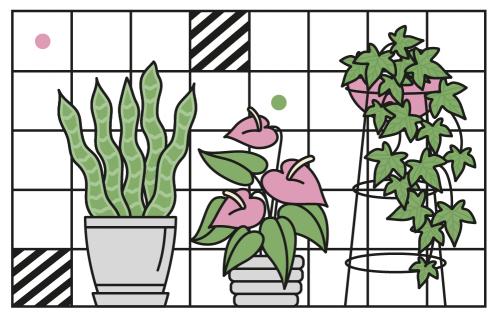 Element identyfikacji wizualnej cyklu. Grafika z roślinami.