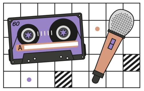 Grafika, element identyfikacji wizualnej cyklu. Przedstawia kasetę i mikrofon w pomarańczowo-fioletowej kolorystyce