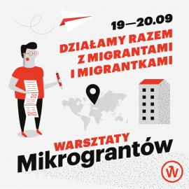 Grafika Warsztatów Mikrograntów - szare tło, czarne i czerwone napisy, na obrazu jest graficzny ludzik, mapa świata, blok mieszkalny i papierowy samolocik