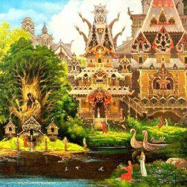 Fragment ludowego obrazka. Namalowana jest na nim drewniana synagoga (lub budynek utrzymany w tym klimacie) widoczne są kobiety (ubrane w czerwone i białe suknie). Budynek znajduje się nad jeziorem. Na pierwszym planie widoczna jest też mała wysepka z dużym drzewem i niewielkimi, drewnianymi domkami.