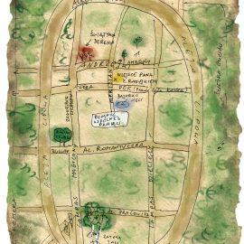 Grafika przedstawiająca szkic mapki fragmentu Parku Grabiszyńskiego.